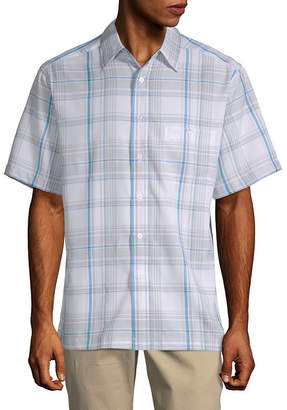 Haggar Mens Short Sleeve Plaid Button-Front Shirt