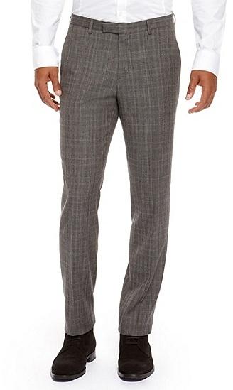 HUGO BOSS Shark Regular Fit, Virgin Wool Dress Pants - Open Brown