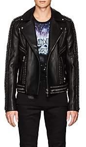 Balmain Men's Embellished Leather Moto Jacket - Black