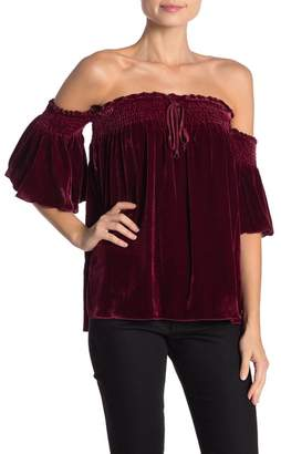 Hale Bob Silk Blend Velvet Off-the-Shoulder Top