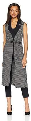 Nine West Women's Stripe Knit Duster with TIE Belt Detail