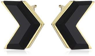Wouters & Hendrix Women's Yellow Gold Plated 925 Sterling Silver V-Shaped Onyx Earrings