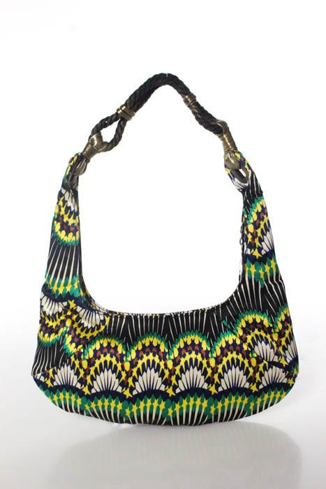 Jimmy ChooJimmy Choo Multi-Color Satin Abstract Zipper Closure 2 Pocket Shoulder Handbag