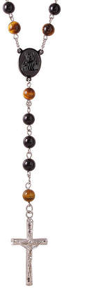 FINE JEWELRY Mens Tiger's Eye Bead Stainless Steel Rosary Necklace