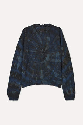 RtA Emma Distressed Tie-dyed Cashmere Sweater - Navy