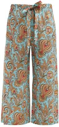 Etro Paisley Print Wide Leg Cropped Silk Trousers - Womens - Light Blue