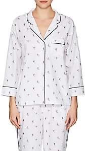 Sleepy Jones Women's Marina Ski-Motif Cotton Pajama Shirt - Ski Print White