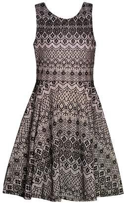 Rare Editions Big Girls White Art Deco Print Knot Detail Dress