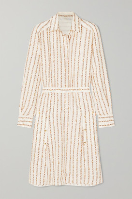 Chloé Printed Silk-crepe Shirt Dress - Ivory