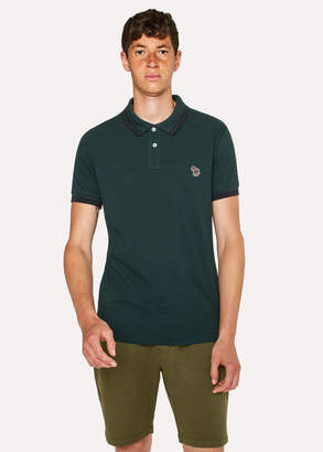 Paul Smith Men's Slim-Fit Dark Green Zebra Polo Shirt With Black Tipping