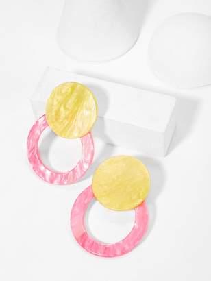 Shein Marble Pattern Round & Circle Stud Earrings 1pair