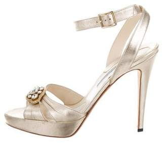 Brian Atwood Embellished Metallic Sandals