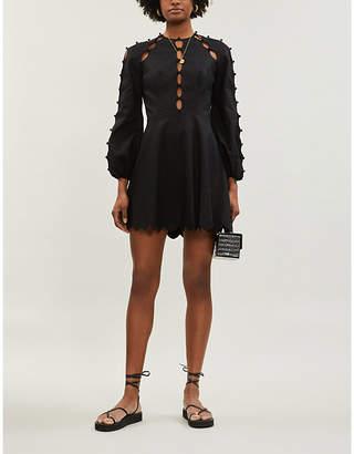 Zimmermann Goldie scalloped linen and cotton-blend mini dress
