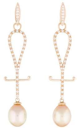 Tara Pearls 14K Diamond & Pearl Drop Earrings