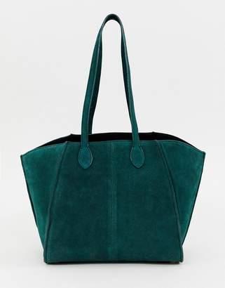 Asos Design DESIGN bonded suede winged shopper bag with removable inner