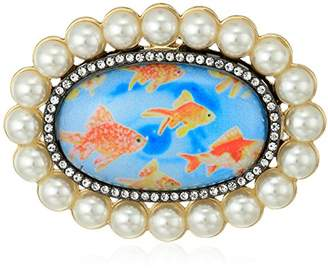 Betsey Johnson Womens Granny Chic Gold Fish and Pearl Brooches and Pin
