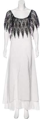 Gianfranco Ferre Crochet-Trimmed Satin Dress