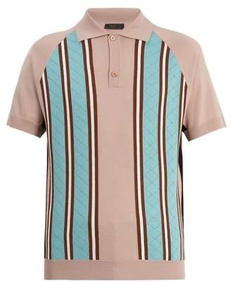 Prada Point Collar Striped Knit Wool Polo Shirt - Mens - Pink Multi