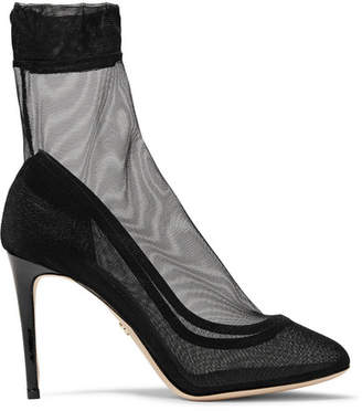 Leather-trimmed Stretch-tulle Sock Boots - Black