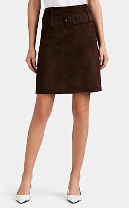 Prada Women's Suede Belted Miniskirt - Dk. brown