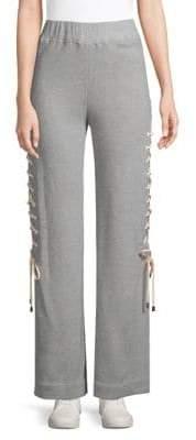 Jonathan Simkhai Heathered Lace-Up Cotton Sweatpants