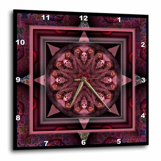 3dRose MANDALA 10 chakra purple pink black flowerpower hippie india orient oriental meditate peace harmony, Wall Clock, 13 by 13-inch