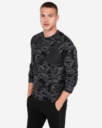 Express Soft Double Knit Jacquard Camo Pocket Crew Neck Tee