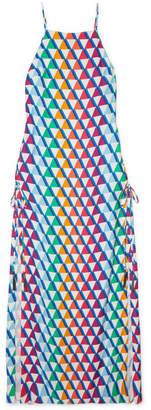 Emma Pake Fiorella Printed Crepe De Chine Maxi Dress - Blue