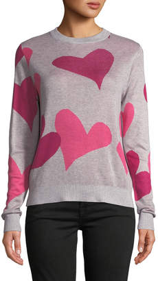 Neiman Marcus Crew-Neck Tricolor Heart Sweater
