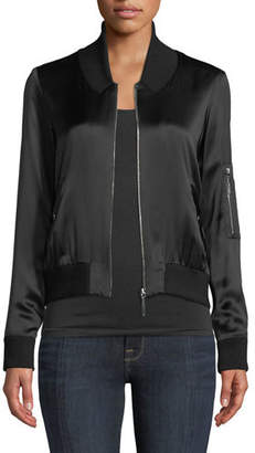 Elie Tahari Brandy Silk Satin Bomber Jacket