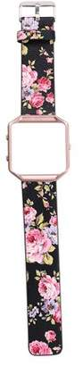 Fitbit Unbranded Floral Leather Strap Replacement WatchBand & Frame Holder Shell For Blaze