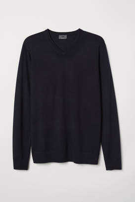 H&M V-neck Merino Wool Sweater - Blue