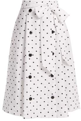 Lisa Marie Fernandez Diana Polka Dot Linen Skirt - Womens - White Multi