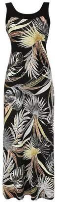 Wallis Petite Black Palm Print Maxi Dress
