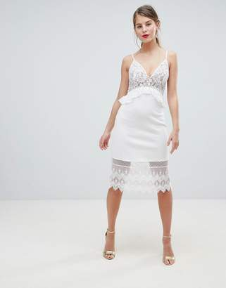 French Connection Strappy Lace Midi Dress