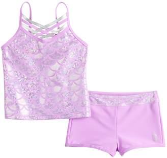 Free Country Girls 4-6x Shiny Seashell Crisscross Tankini Top & Bottoms Swimsuit Set