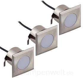 3er-Set LED-Einbaustrahler Nürnberg III, eckig