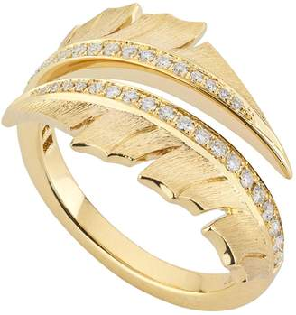 Stephen Webster Yellow Gold Magnipheasant Pave Diamond Split Ring