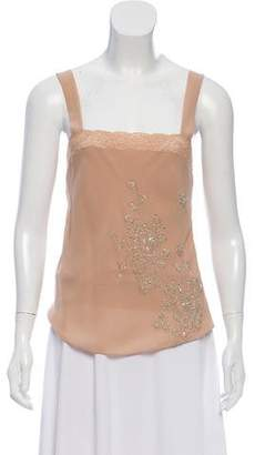 Christian Dior Embellished Sleeveless Lace Top
