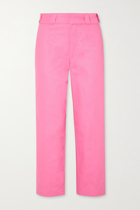 Adaptation - Cropped Embroidered High-rise Straight-leg Jeans - Pink