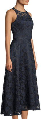 Tahari ASL Novelty Embroidered Tea-Length Gown