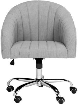 Safavieh Themis Linen Chrome Leg Swivel Office Chair