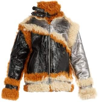 Marques Almeida MARQUES'ALMEIDA Shearling-trim panelled leather jacket