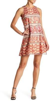 ECI Geometric Embroidered Mesh Swing Dress