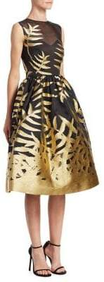 Oscar de la Renta Metallic Leaf Dress