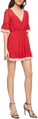 BCBGeneration Bell-Sleeve Tie-Back Chiffon Mini Dress w\/ Lace Trim
