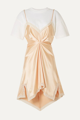 Alexander Wang Layered Lace-trimmed Silk-charmeuse And Cotton-jersey Mini Dress - Peach