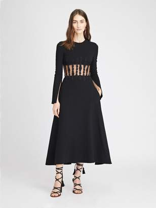 Oscar de la Renta Rose Trellis and Stretch-Wool Crepe Cocktail Dress