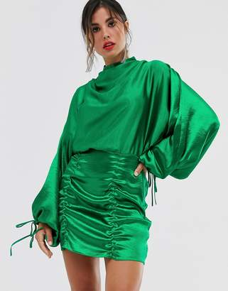 Asos Design DESIGN satin mini dress with ruched skirt and blouson top