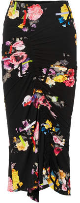 Preen by Thornton Bregazzi Cosmia Ruched Floral-print Stretch-jersey Midi Skirt - Black